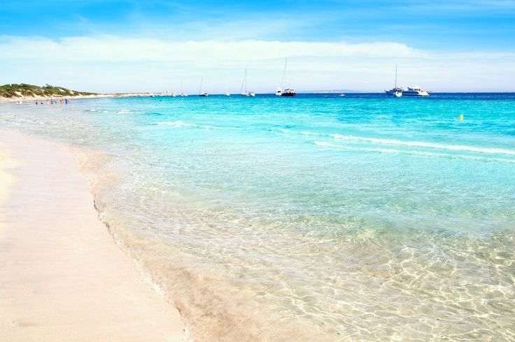 Ibiza Ses Salines south beach turquoise water island of Mediterranean